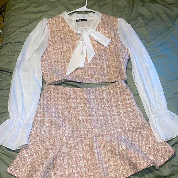 Tie Neck Colorblock Spliced Tweed Crop Top & Skirt